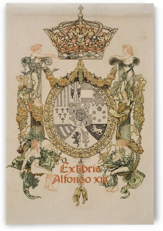 Alexandre-de-Riquer---Book-plate-of-Alfons-XIII by VINTAGE POSTER