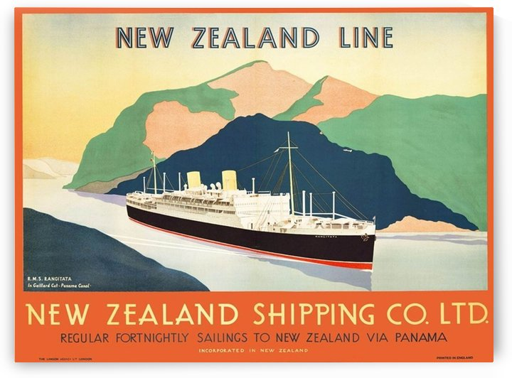Vintage travel advert for transport to New Zealand via Panama by VINTAGE POSTER