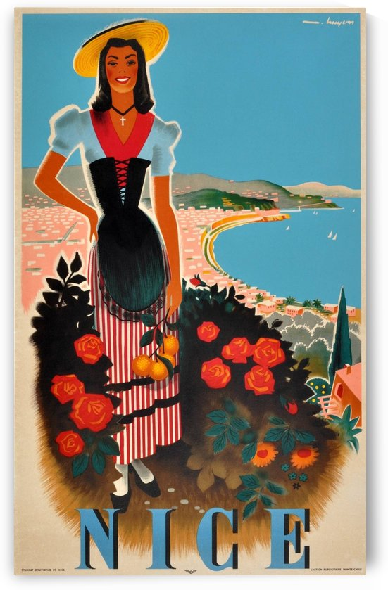 Nice, French Riviera Original Vintage 1950 Travel Poster by VINTAGE POSTER