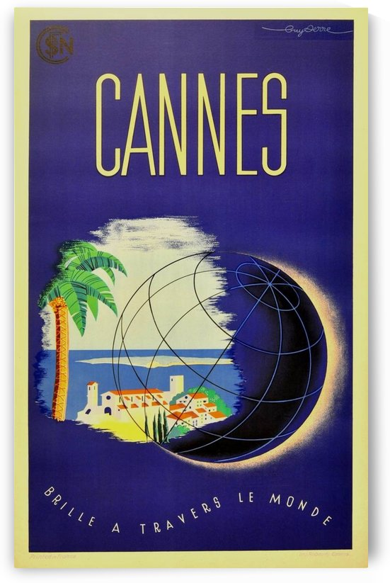 Guy Serre Cannes original vintage travel poster by VINTAGE POSTER