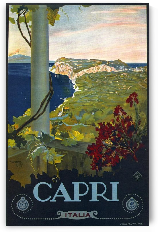 Blue Vintage Travel Poster for Capri Italia by VINTAGE POSTER