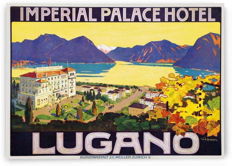 Imperial Palace Hotel Lugano travel poster by VINTAGE POSTER