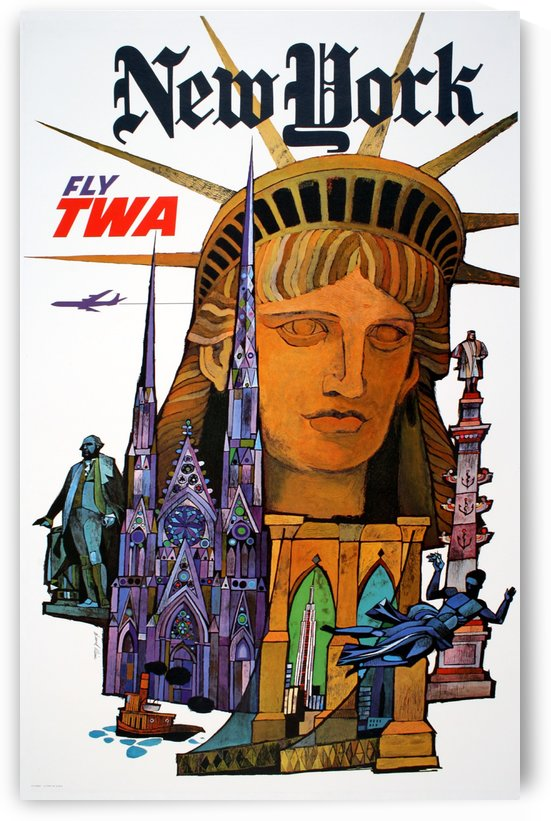 Fly TWA New York travel poster by VINTAGE POSTER