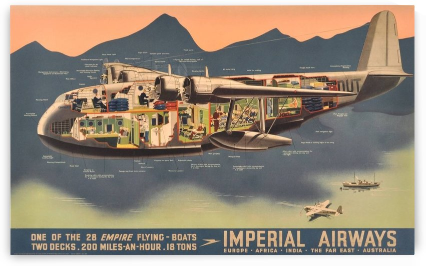 Original Vintage Travel Advertising Poster for Imperial Airways Empire by VINTAGE POSTER