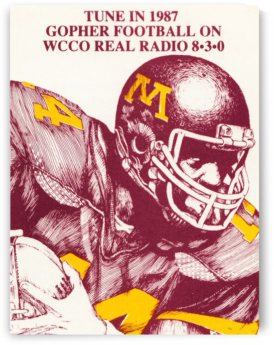 1987 Minnesota Gopher Football WCCO Radio Poster by Row One Brand