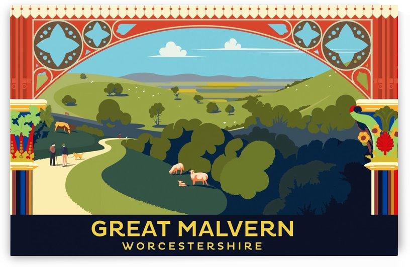 Great Malvern Worcestershire vintage travel poster style illustartion by VINTAGE POSTER