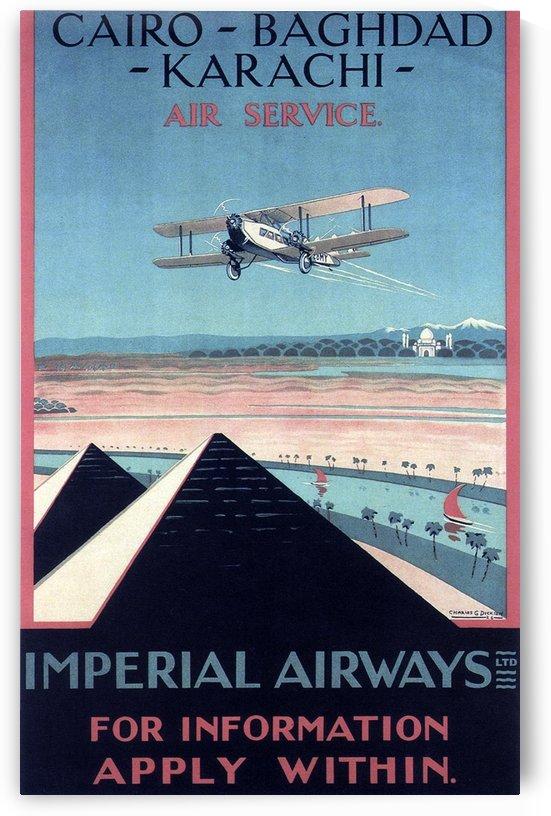 Airways Cairo Baghdad Karachi Vintage Travel Poster by VINTAGE POSTER