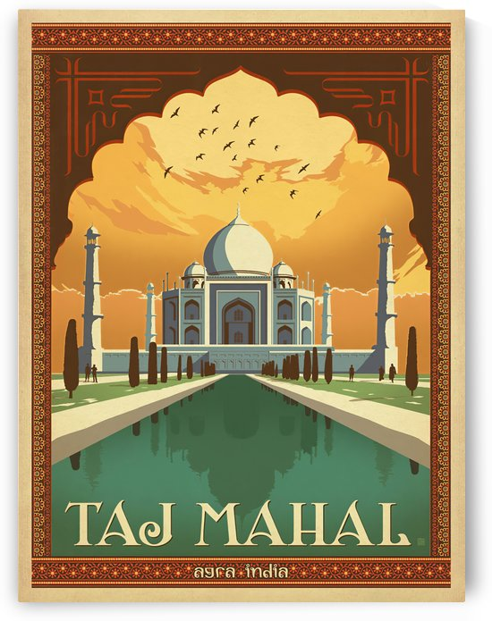 Taj Mahal vintage travel poster for Agra India by VINTAGE POSTER