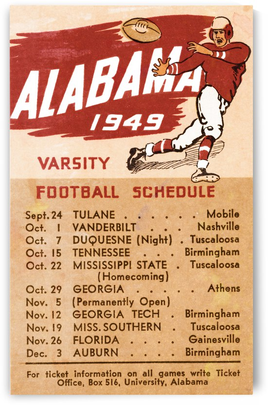 1949 Alabama Varsity Football Schedule Art by Row One Brand