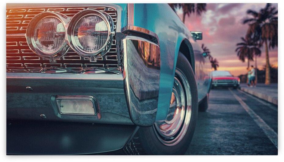blue vintage car 3d render illustration by GrapyArt