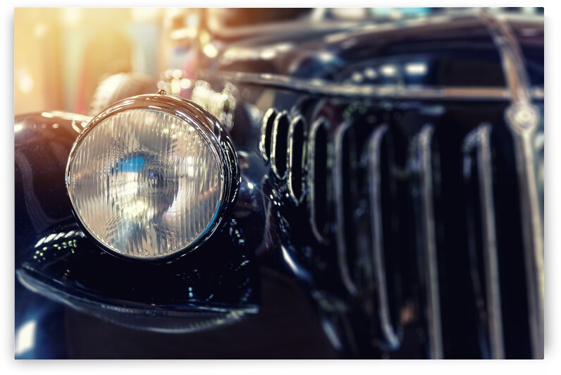 closeup vintage blue car by GrapyArt