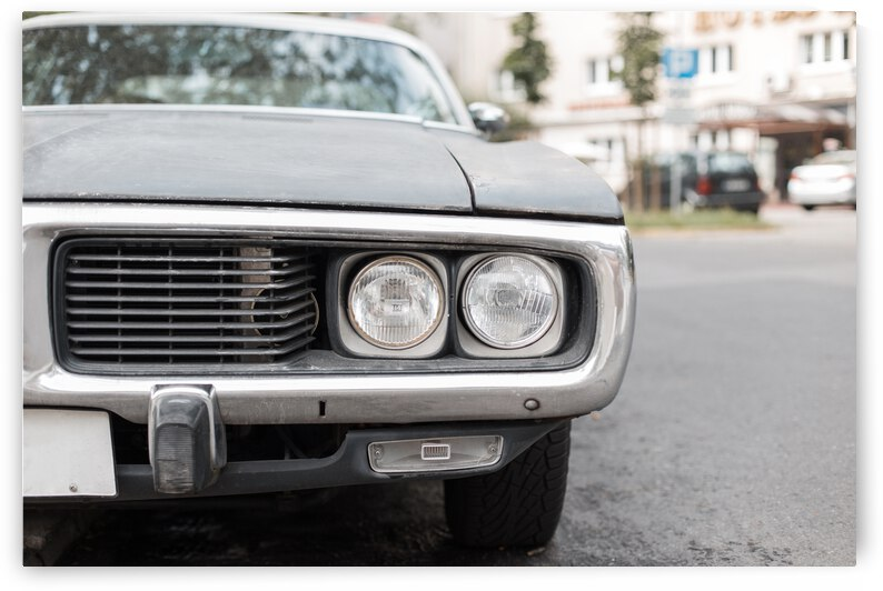 before retro car with headlight muscle car by GrapyArt