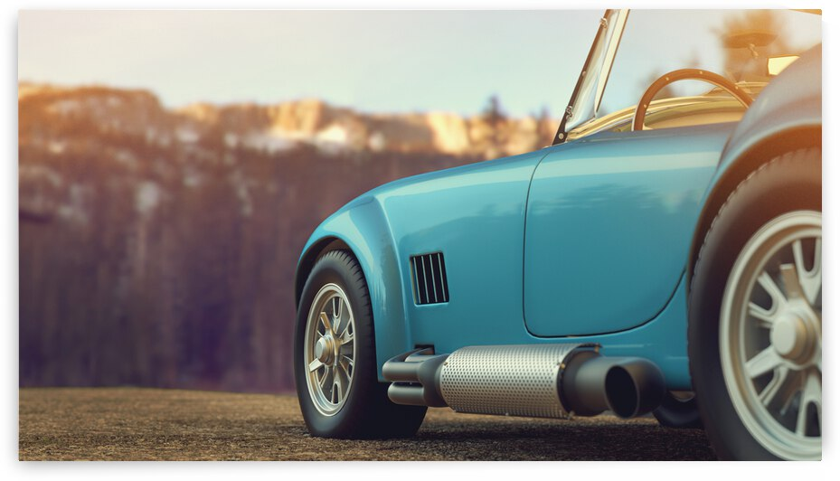 classic car parked mountains morning 3d render illustration 1  by GrapyArt