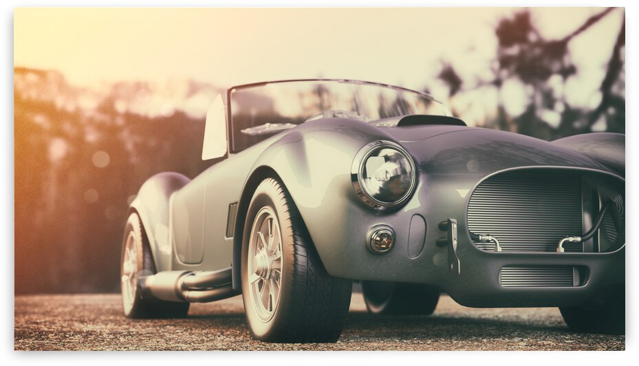 classic car parked mountains morning 3d render illustration 2  by GrapyArt