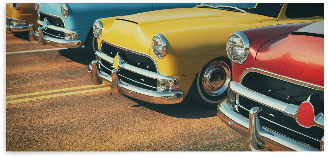 classic cars row 3d rendering illustration by GrapyArt