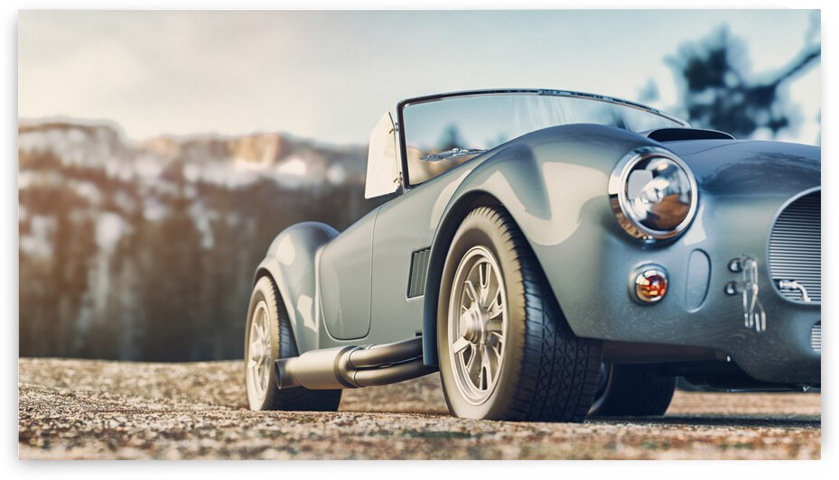 classic car parked mountains morning 3d render illustration by GrapyArt