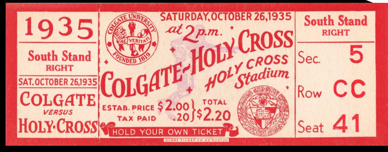 1935 Holy Cross Crusaders vs. Colgate Red Raiders Football Ticket Stub Art by Row One Brand