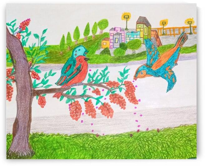 Bird Berry View by Derica Geter