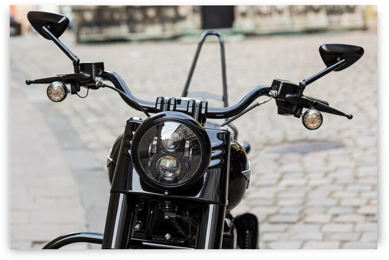 part retro black motorcycle with large headlight by GrapyArt