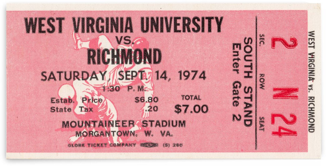 1974 West Virginia Mountaineers vs. Richmond Spiders by Row One Brand