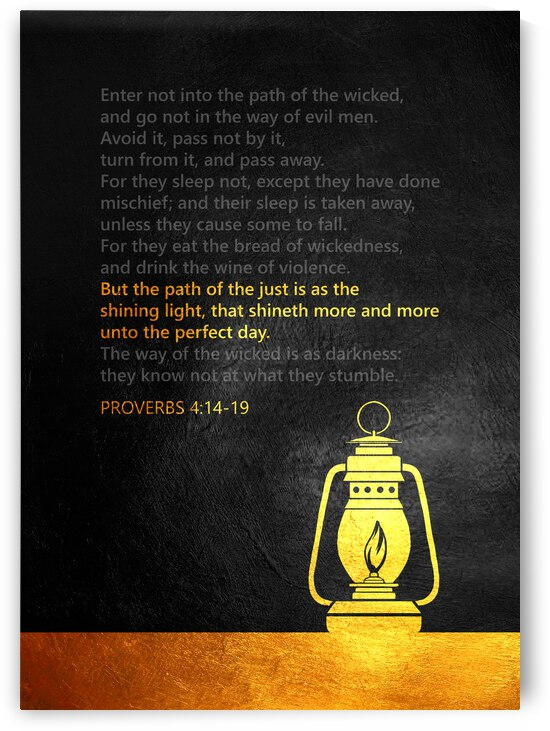 Proverbs 4:14-19 Bible Verse Wall Art by ABConcepts