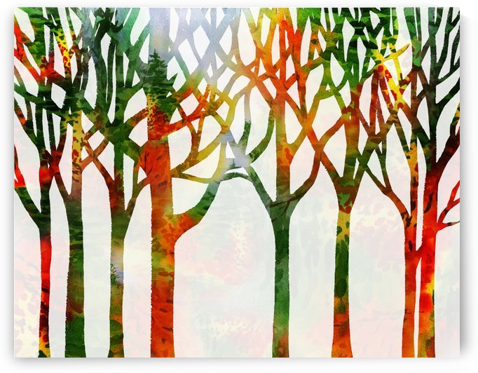 Watercolor Forest Silhouette Fall by Irina Sztukowski