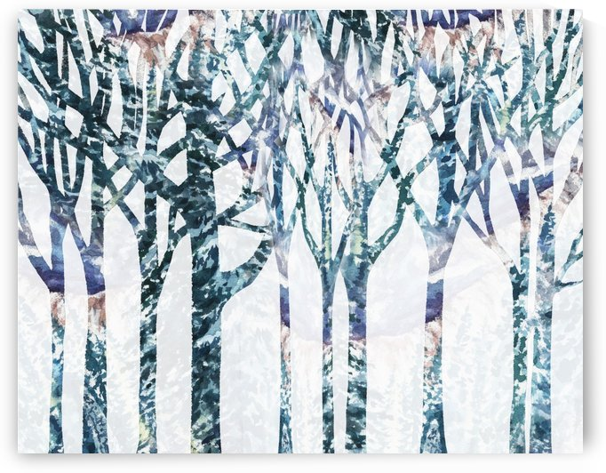Watercolor Forest Silhouette Winter by Irina Sztukowski