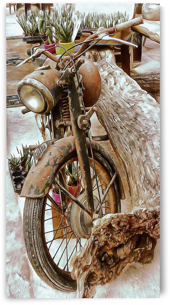 Old Rusty Motorbike Against Tree Stump by Dorothy Berry-Lound