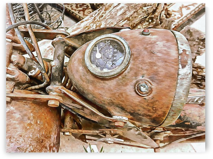 Speedometer On A Rusty Motorbike by Dorothy Berry-Lound