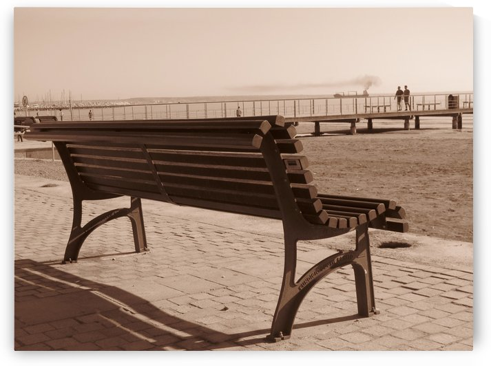 Bench with amazing sea view along the coast in Larnaca, Cyprus by Vlad Radulian