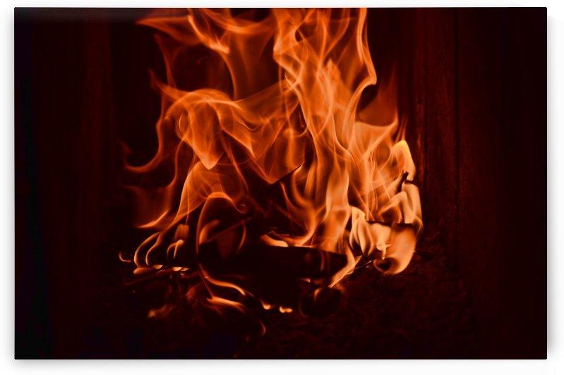 Fierce fire flames in the fireplace by Codrina Miculit