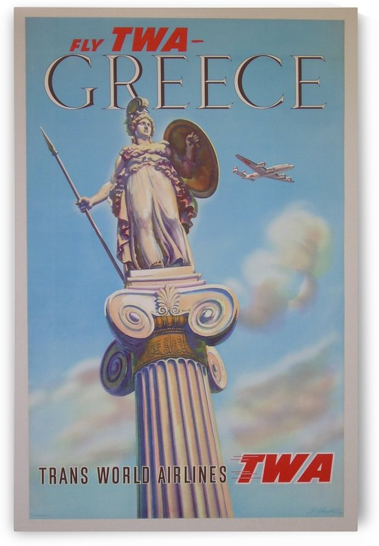 Fly TWA - Greece by VINTAGE POSTER