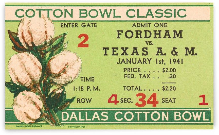 1941 Fordham vs. Texas AM Cotton Bowl Ticket Art by Row One Brand