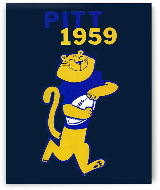 1959 Pitt Panther Vintage Football Art by Row One Brand