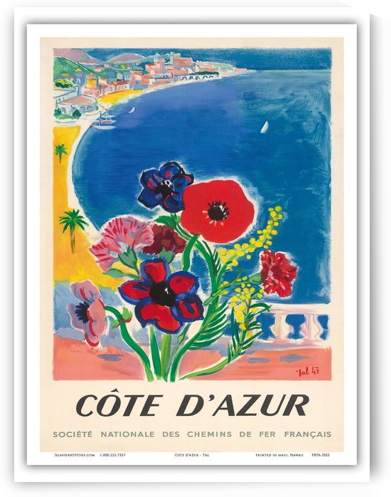 French Riviera Vintage Railway Travel by VINTAGE POSTER