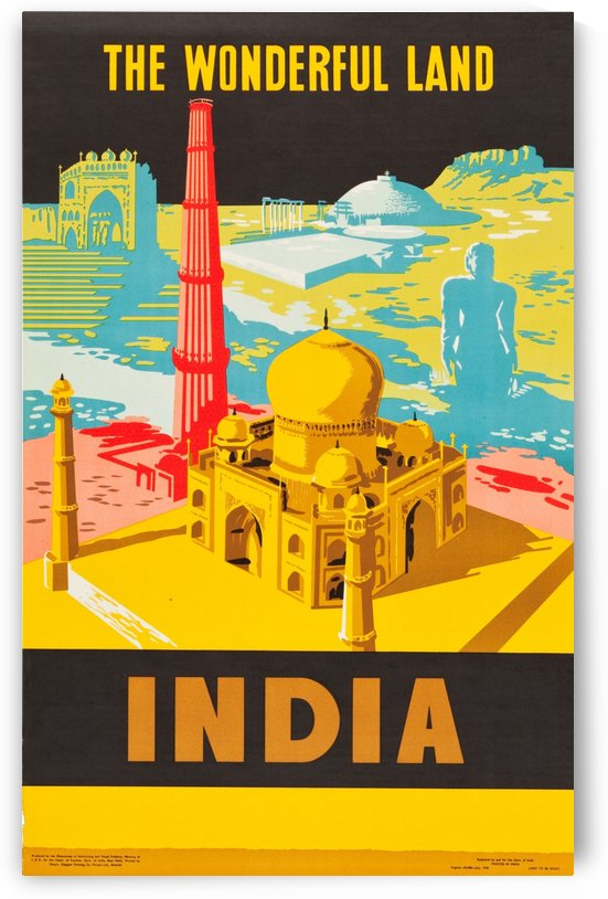 The wonderful land India vintage travel poster by VINTAGE POSTER