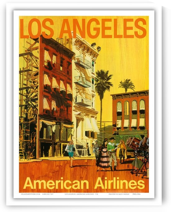 American Airlines Los Angeles vintage travel poster by VINTAGE POSTER