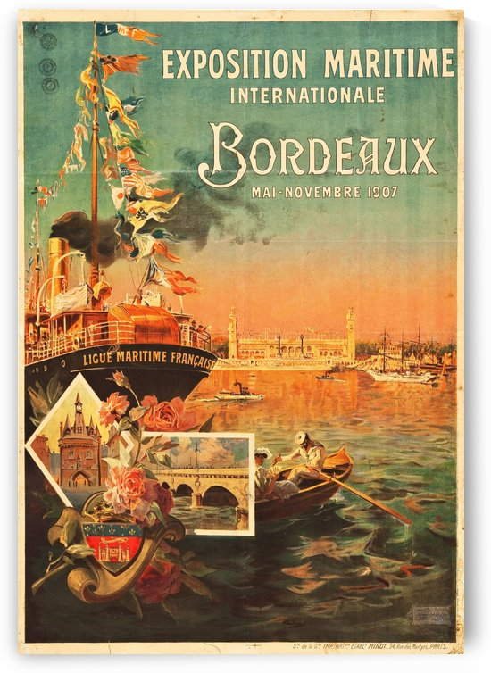 Vintage Poster for Bordeaux International Maritime Exposition 1907 by VINTAGE POSTER