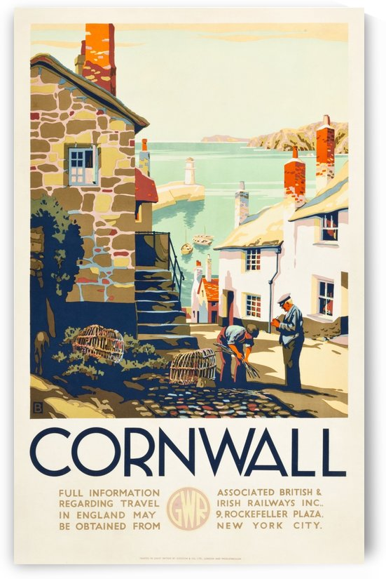 Cornwall, England Travel Poster 1930 by VINTAGE POSTER