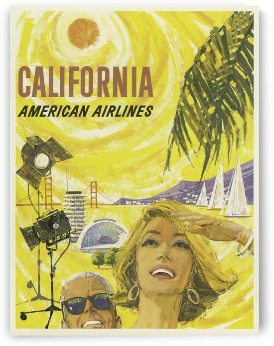 American Airlines California Vintage Travel Poster by VINTAGE POSTER