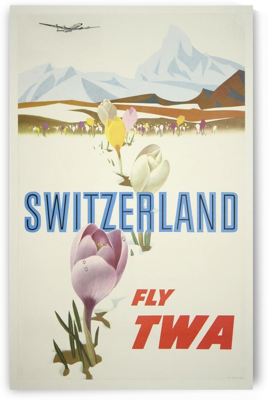 Switzerland Fly TWA Vintage Travel by VINTAGE POSTER