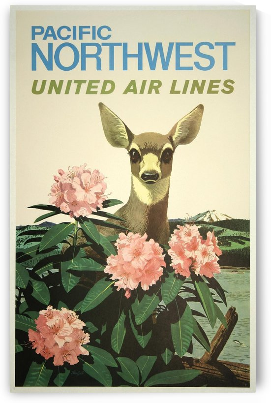 United Air Lines Pacific Northwest Vintage Travel Poster by VINTAGE POSTER