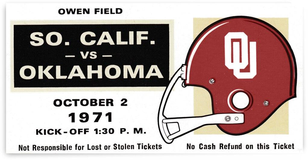 1971 USC vs. Oklahoma Football Ticket Stub Remix Art  by Row One Brand
