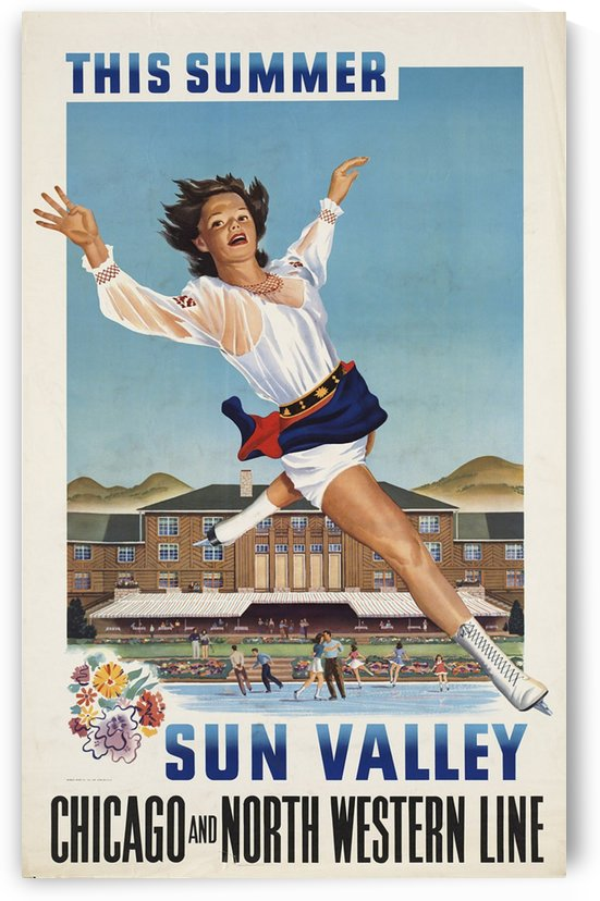 Sun Valley sports through Chicago and North Western Line by VINTAGE POSTER