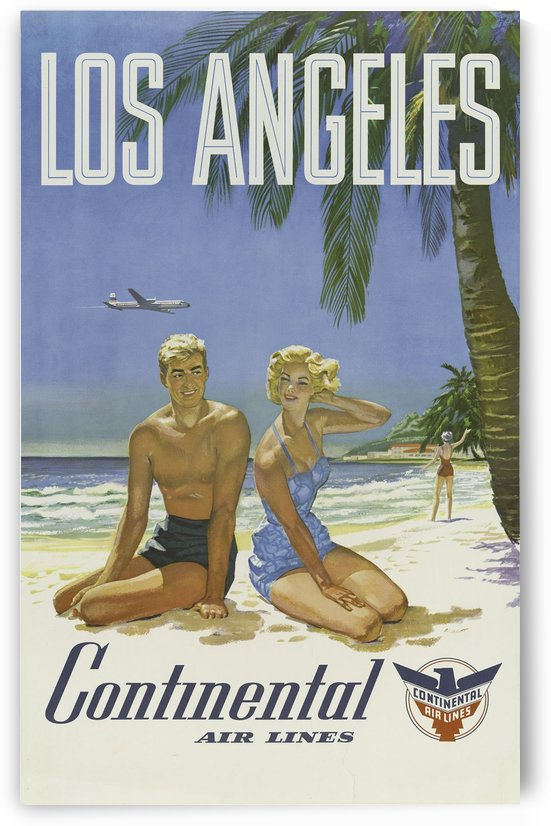 Continental Air Lines Los Angeles vintage poster by VINTAGE POSTER