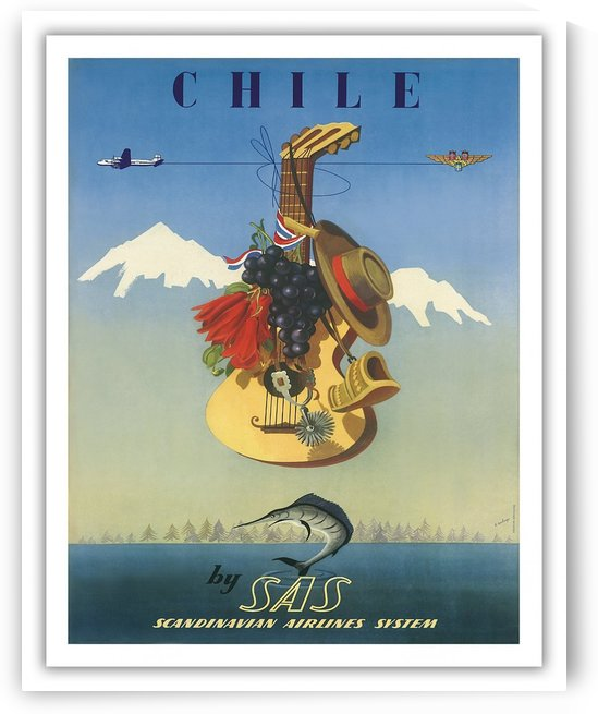 Scandinavian Airlines System Poster for Chile by VINTAGE POSTER