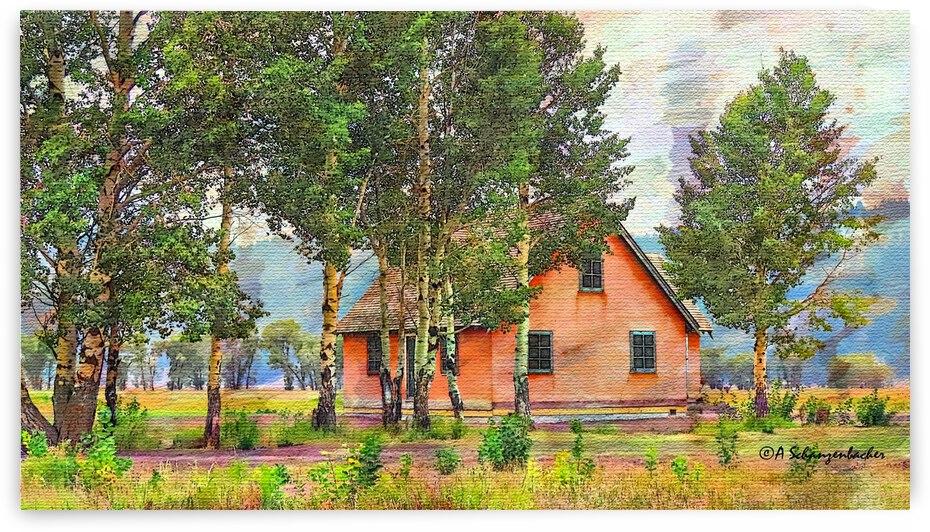 Pretty In Peach Historic Stucco House on Mormon Row by Aurelia Schanzenbacher Sisters Fine Arts
