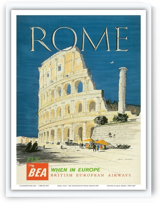 British European Airways travel poster for Rome by VINTAGE POSTER