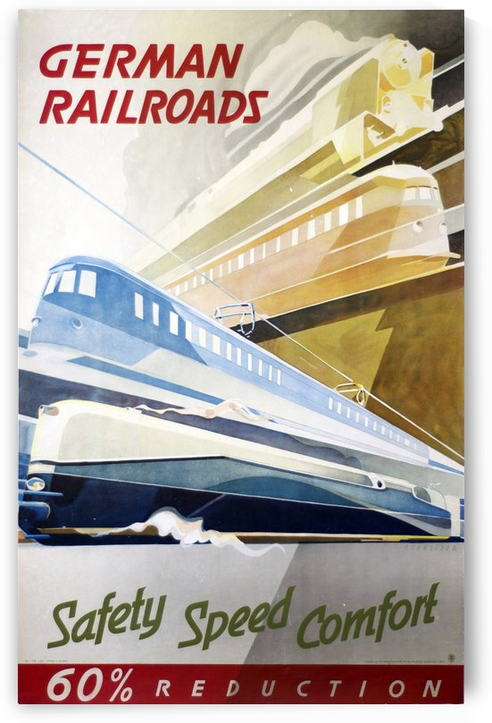 German Railroads vintage poster by VINTAGE POSTER