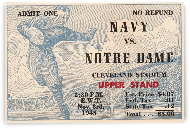 1945 Notre Dame vs. Navy Football Ticket Stub Metal Sign by Row One Brand